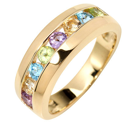 Multicolor Edelsteine Channelfassung 8 Edelsteine 0,78ct. Halb-Eternity-Ring Silber 925