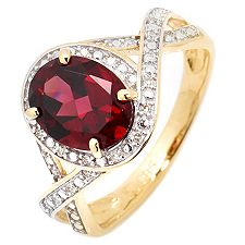 Rhodolith oval 1,72ct. Diamanten 0,07ct. Ring Gold 585