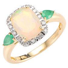 Afrikanischer Opal 1,00ct Smaragd/Diamanten Entourage-Ring Gold 585