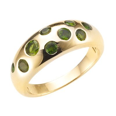 Russischer Chromdiopsid 0,61ct Sternenhimmel- Ring Gold 375