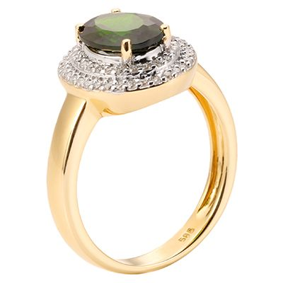 Russischer Chromdiopsid 1,57ct Brillanten 0,27ct Entourage-Ring Gold 585