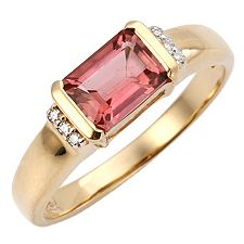 Turmalin 0,80ct. Smaragdschliff Diamanten 0,02ct. Ring Gold 585