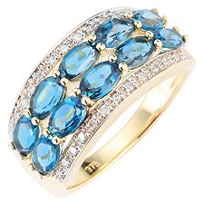 ITINGA Topas Londonblue 2,50ct 26 Dia. ca.0,13ct Ring Gold 375