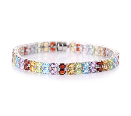 Multicolor Edelsteine Armband oval 13,37ct Silber rhodiniert
