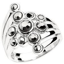 Markasit 11 Steine Rundschliff Cocktail-Ring Silber 925