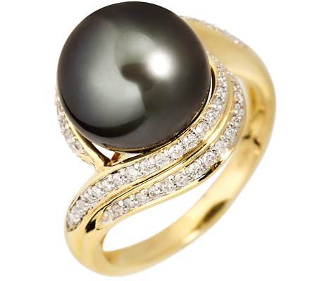 PERLFEKT Tahitiperle 11-12mm 74 Brillanten 0,45ct. Cocktail-Ring Gold 585