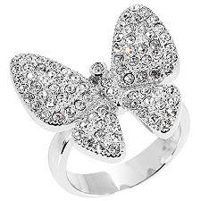 STEEL BY DESIGN Ring Schmetterling Kristalle Edelstahl