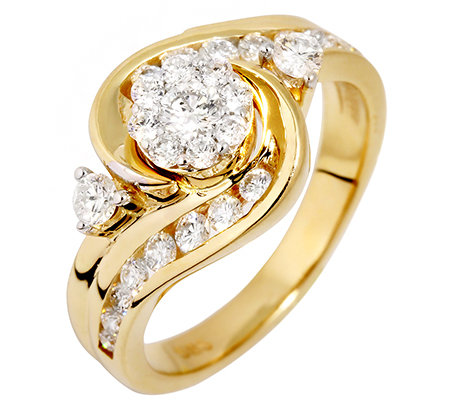 27 Brillanten zus.ca.0,75ct. Weiß/P1 Ring Gold 585