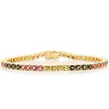 Turmalin 5,72ct Rundschliff multicolor Armband Gold 375
