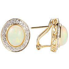 Afrikanischer Opal 2,80ct Brill.0,10ct Ohrstecker Gold 585