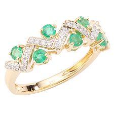 Sambia Smaragd 0,63ct 31 Brill.0,16ct Ring Gold 585