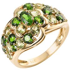 Russischer Chromdiopsid 1,40ct. Peridot 1,30ct. Cocktail-Ring Gold 375