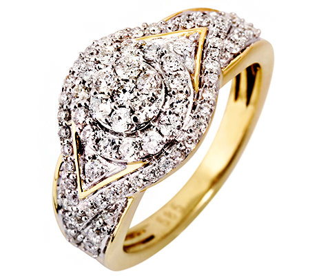 75 Brillanten zus.ca.0,75ct. Weiß/P1 Cocktail-Ring Gold 585
