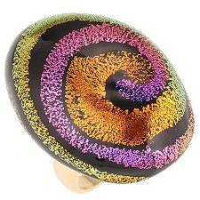 MURANO violett/bronze oval ca. 31x22mm Ring handgefertigt