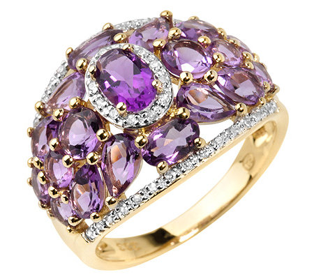 Amethyst 3,00ct. Diamanten 0,13ct. Schliffmix Cocktail-Ring Gold 333