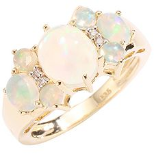 Afrikanischer Opal 2,15ct 4 Brill.0,03ct Ring Gold 585