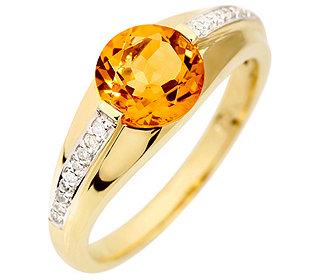 Ring Citrin 18 Diamanten