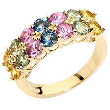 Saphire multicolor 2,60ct. rund facettiert Ring Gold 375