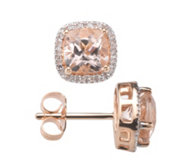 Morganit Entourage Ohrstecker Kissenschliff 2,00ct Diamanten 0,10ct Rosegold 585