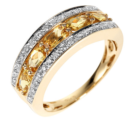 Gold Beryll oval fac. 1,05ct. Brillanten 0,24ct. Riviere-Ring Gold 585