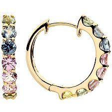 VIVA LAS VEGAS multicolor Saphire 1,40ct Creolen Gold 375