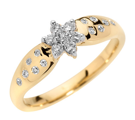 FIRST DIAMOND 19 Brillanten zus.ca.0,25ct. Weiß/P1 Ring, Gold 333