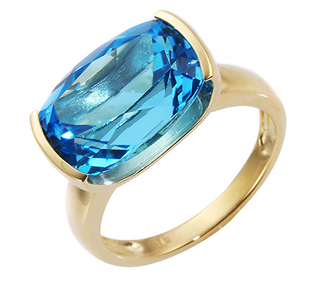 ITINGA Topas Swissblue 6,50ct Solitär-Ring Gold 375