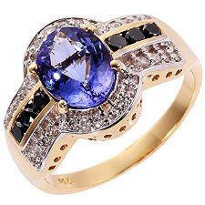1st Class Tansanit AAA/1,63ct 38 Dia. 0,36ct Ring Gold 750