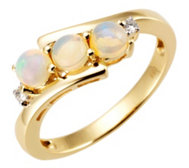 Afrikanischer Opal 0,60ct Croisé-Ring 2 Brillanten 0,03ct Gold 585