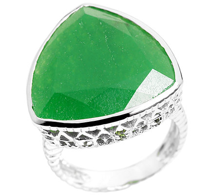 Chateau d'Argent grüne Jade Chromdiopsid 0,08ct. Ring Silber 925,rhodiniert