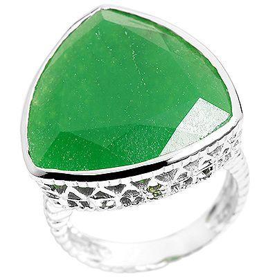 Chateau d´Argent grüne Jade Chromdiopsid 0,08ct. Ring Silber 925,rhodiniert
