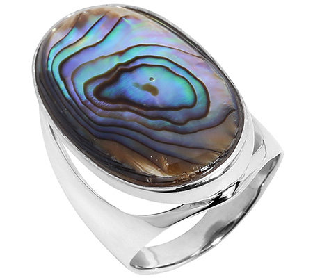 Abalone oval 29x16mm Cocktail-Ring Silber rhodiniert