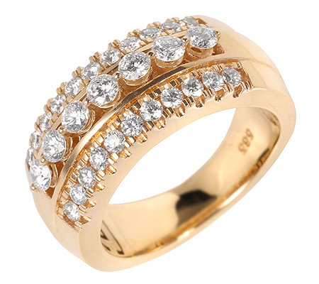 29 Brillanten zus.ca.1,00ct Weiß/lupenrein Cocktail-Ring Gold 585