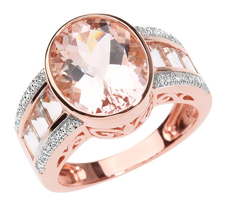 Morganit AAA/4,90ct 20 Brill.0,07ct Cocktail-Ring Roségold 750