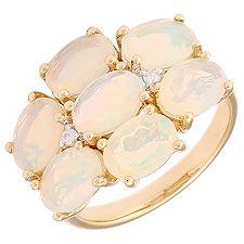 Afrikanischer Opal 3,00ct Natur Zircon Cocktail-Ring Gold 585
