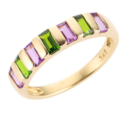 Amethyst 0,36ct Chromdiopsid 0,36ct Rivière-Ring Gold 375