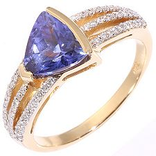 1st Class Tansanit AAA/1,75ct 63 Brill.0,25ct Ring Gold 750