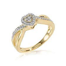 FIRST DIAMOND 19 Brillanten zus.ca.0,10ct. Herz-Ring Gold 375