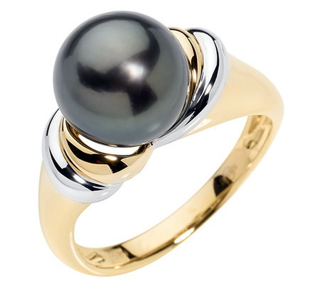PERLFEKT Tahitiperle 10-10,9mm Ring Gold 585, bicolor