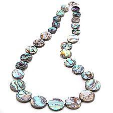 Abalone rund 12-20mm Collier 52cm Silber rhodiniert