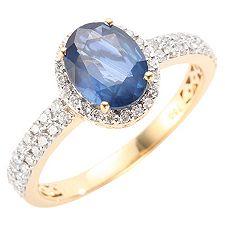 Ceylon Saphir Ovalschliff 1,60ct 58 Brill. 0,44ct Ring Gold 750