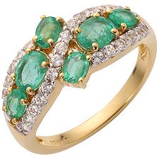 Sambia Smaragd 1,25ct 27 Brill.0,40ct Ring Gold 585