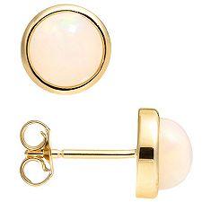 Afrikanischer Opal 0,84ct rund 7mm Ohrstecker Gold 585