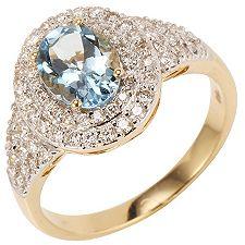 Aquamarin 1,10ct 68 Brill. 0,58ct Ring Gold 750