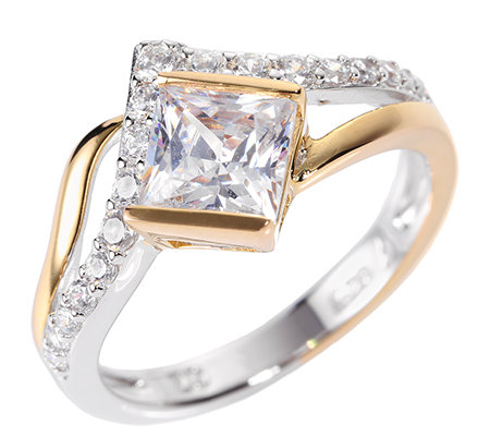 DIAMONIQUE® = 1,51ct Schliffmix Ring Silber bicolor