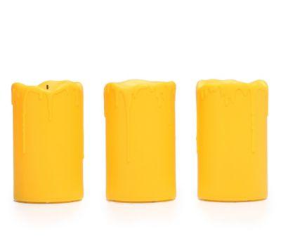 ELAMBIA Longlife flammenl. Kerzen Tropfeneffekt outdoorgeeignet Timer, 3-tlg.