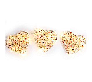 3 Perlenherzen leuchtend