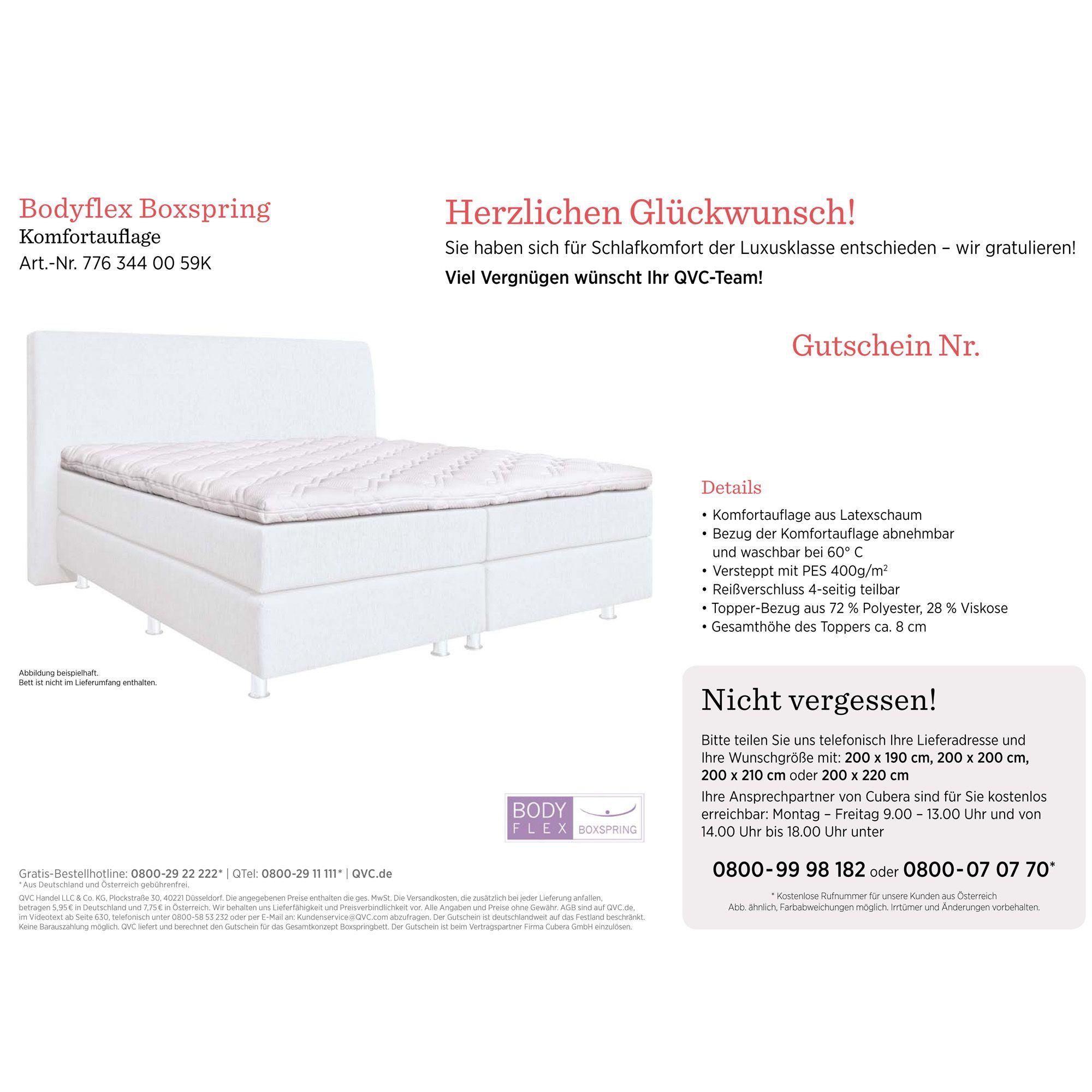 BODYFLEX BOXSPRING Latex Topper Für Boxspringbetten   Page 1 U2014 QVC.de