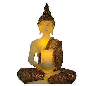 elambia flammenlose kerze buddha timerfunktion ca 32x14x24cm. Black Bedroom Furniture Sets. Home Design Ideas