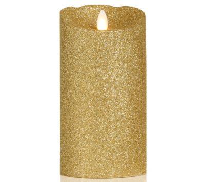 ELAMBIA flammenlose Kerze Echtflammen-Optik Glitzer-Optik & Timer Höhe ca.18cm, Ø 9cm